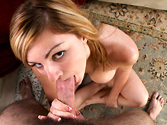 French girl takes a mouthful and swallows a load of delicious cum